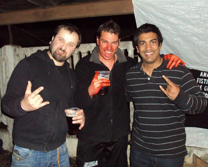 Andy, Lugubrious (Haemorrhage) and me (Left to Right)