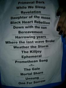 Insomnium Dubai Set list